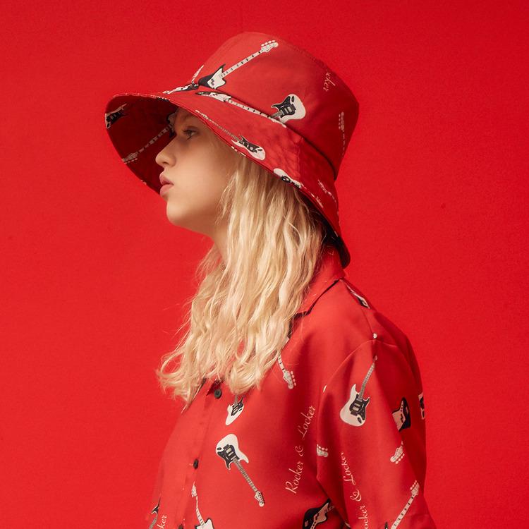 RL WIDE BUCKET HAT (RED)