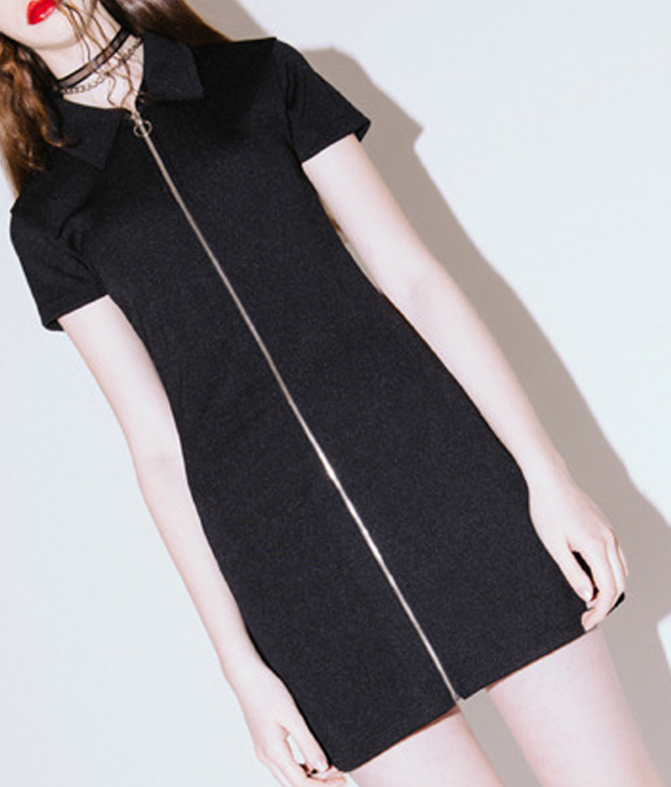 Collar Zipper Dress(Black)