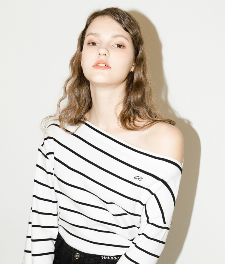 SEEK Stripe Off Shoulder Top