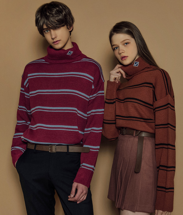 Stripe Logo High Neck Knit