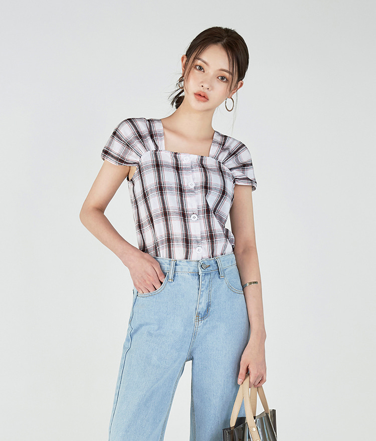 Square-neck Checked Blouse