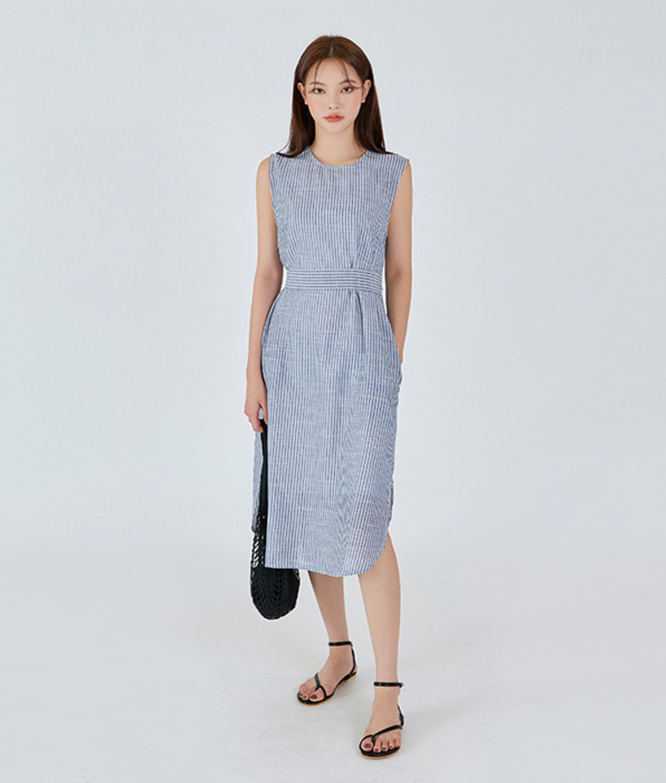 Striped Linen Sleeveless Derss