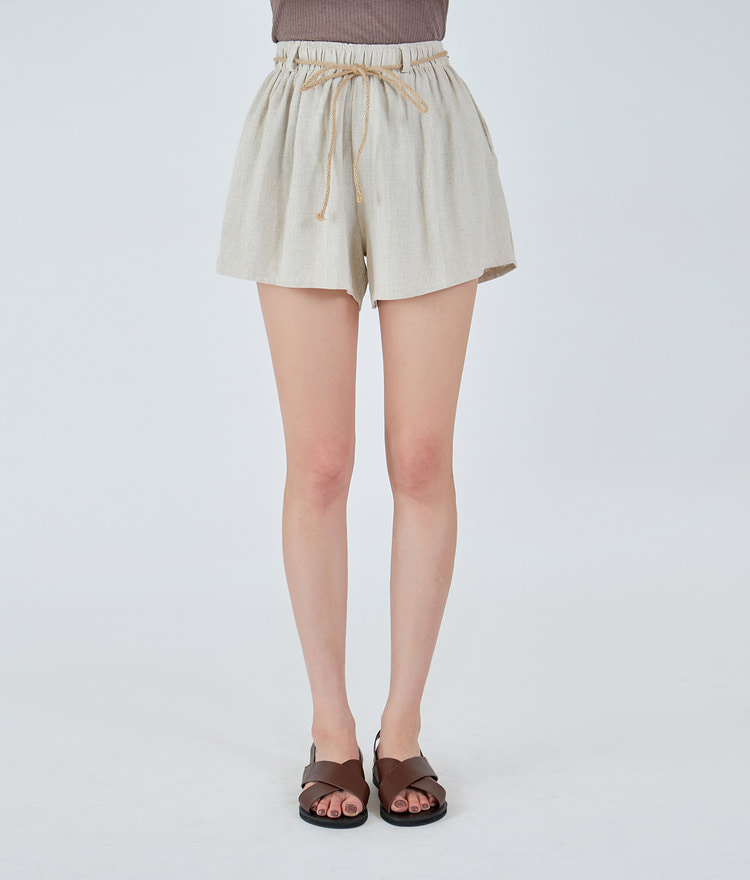 String Belted Wide Short Pants