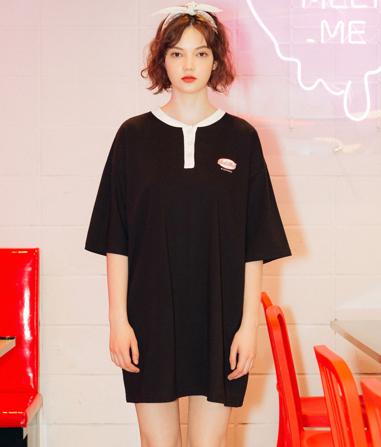 Henley Neck Logo Dress