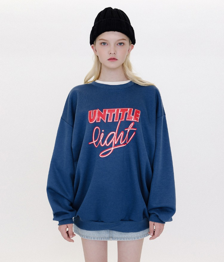 Typo Combination Sweat Shirt (Blue)
