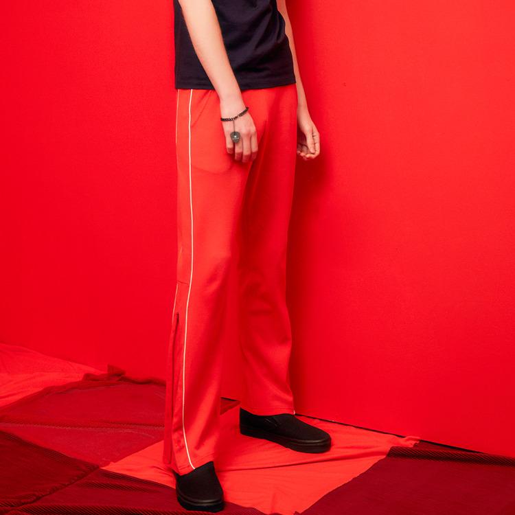 ZIP TRACK PANTS (RED)